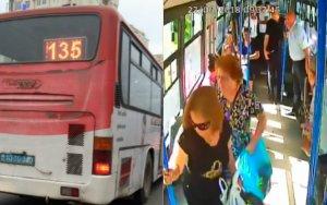 """Bakıda """"Shacman"""" avtobusa çırpıldı - VİDEO"""