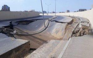 Под просевшей дорогой в Баку обнаружен тоннель – ФОТО