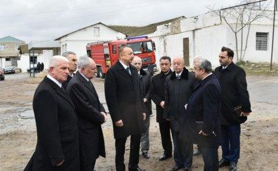 President Ilham Aliyev arrives at Drug Abuse Treatment Center after fire outbreak